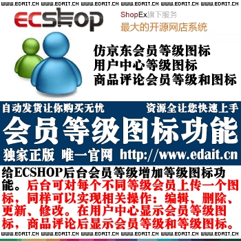 ecshop会员等级图标插件 可编辑、删除、更新完美结合后台会员等级的省略图
